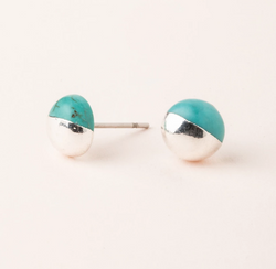 Turquoise Silver Dip Stud