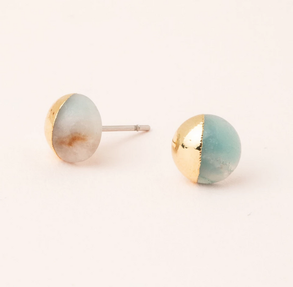 Amazonite Gold Dip Stud