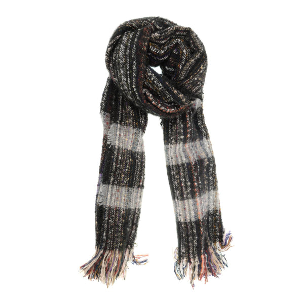Black Cozy Slub Scarf