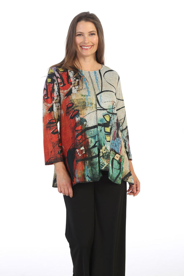 Plus Etched Asym Pocket Sweater Tunic