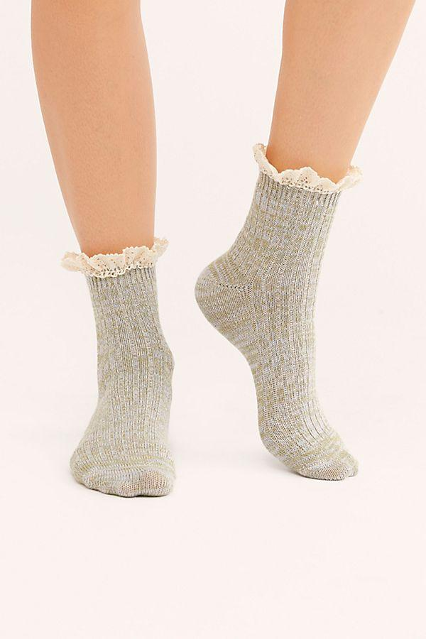 Grey Space Dye Ruffle Socks
