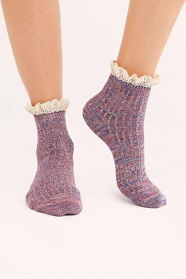 Berry Space Dye Ruffle Socks
