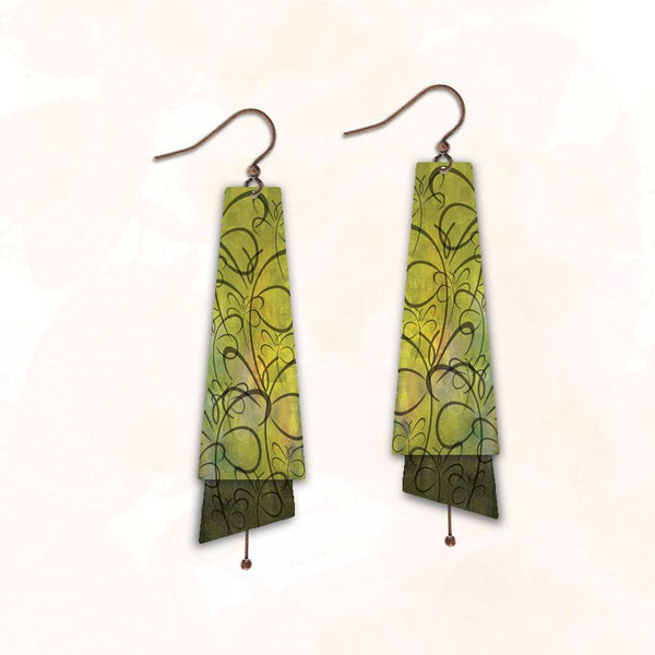 Chartreuse Etches Earring