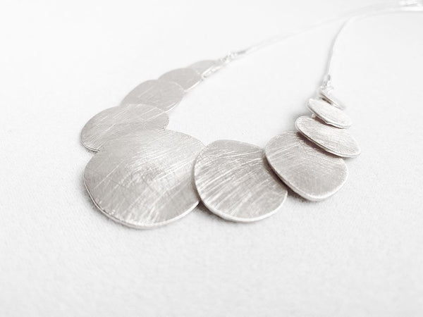 Silver Etched Disc Necklace