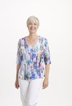 Watercolor V-Neck Top