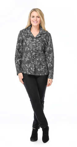 Black Leaf Pattern Shaped Jacket