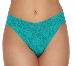 Bright Teal Onesize Lace Thong