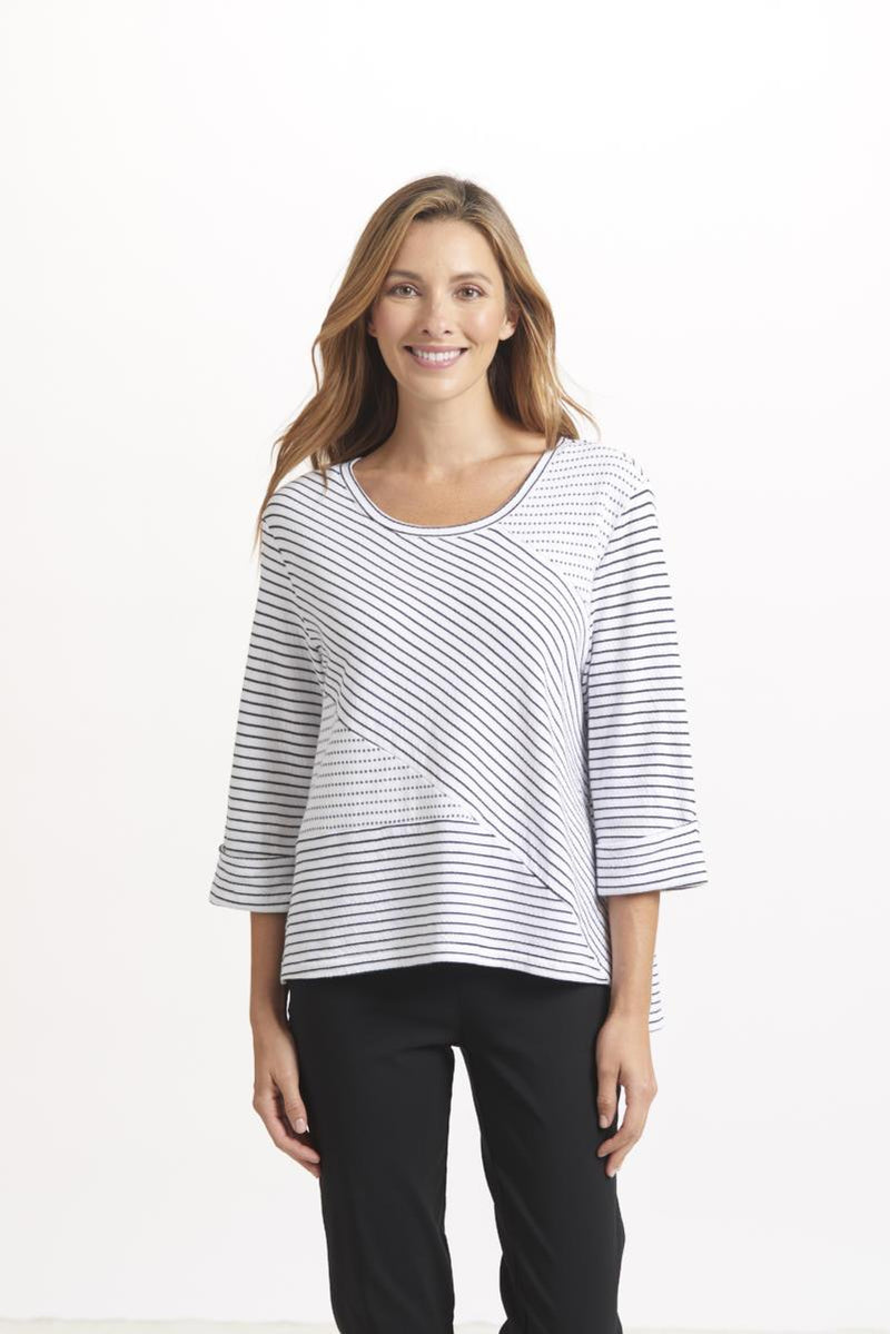 Black & White Mix Stripe Crew Top