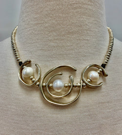 Triple Silver & Pearl Spiral Necklace