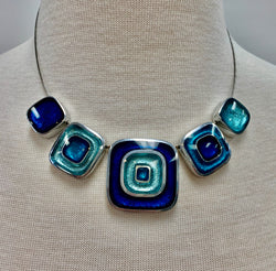 Blues Organic Squares Resin Necklace