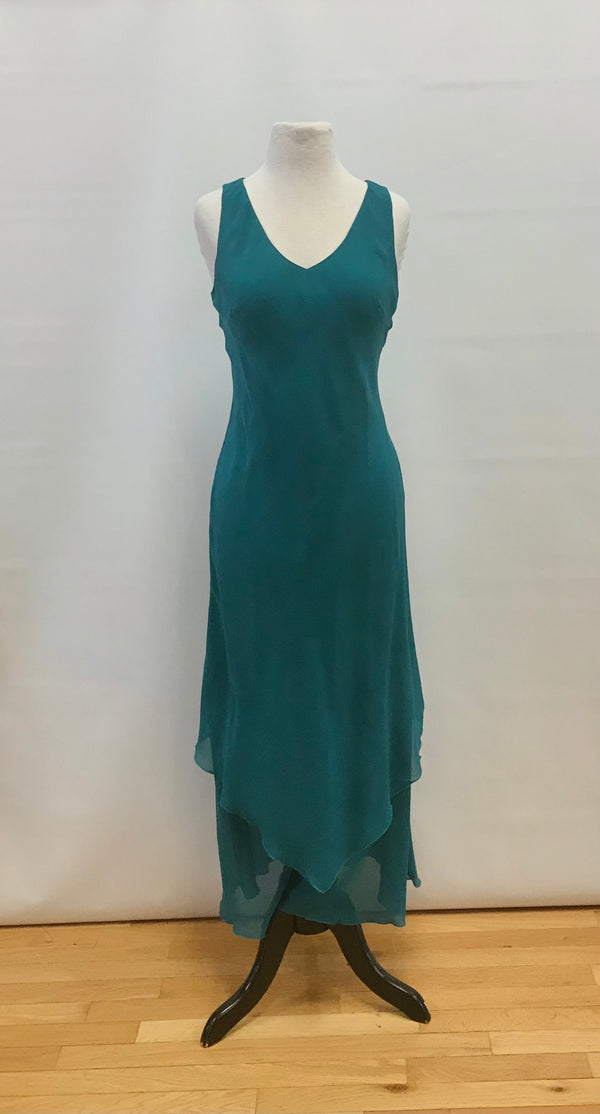 Teal Silk Handkerchief Ankle Dress