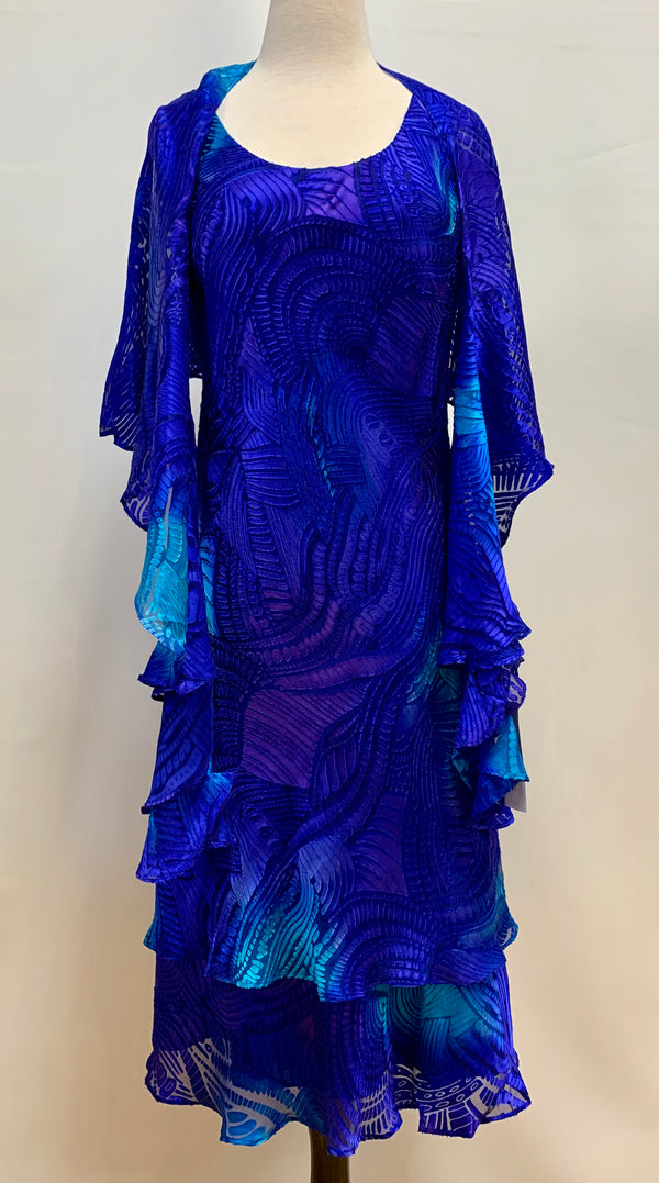 Cobalt Silk Burnout Tea Length Dress