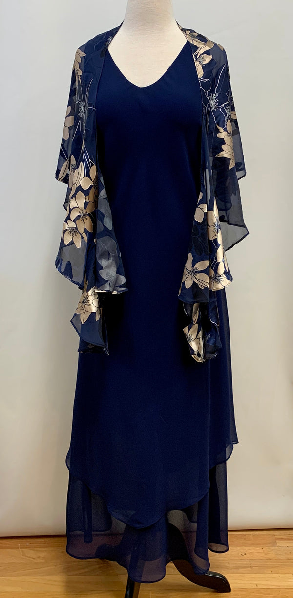 Navy Handkerchief Ankle Dress
