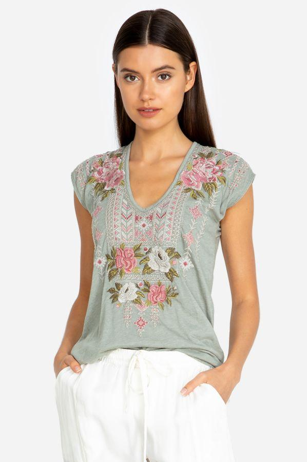 Roses Embroidered Tee