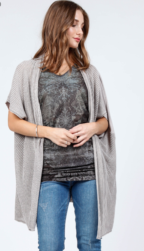Onesize Gray Mineral Wash Poncho