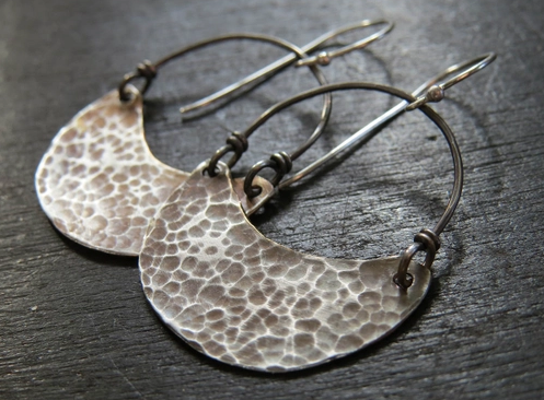 Sterling Crescent Earring