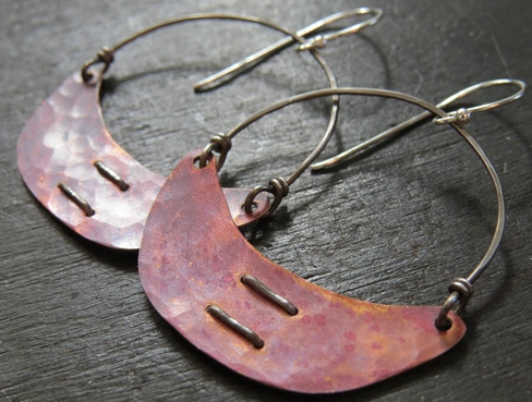 Copper Stitched Crescent Earring