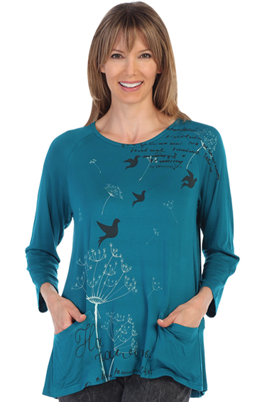Jade Modal Birdsong Pullover with Pockets