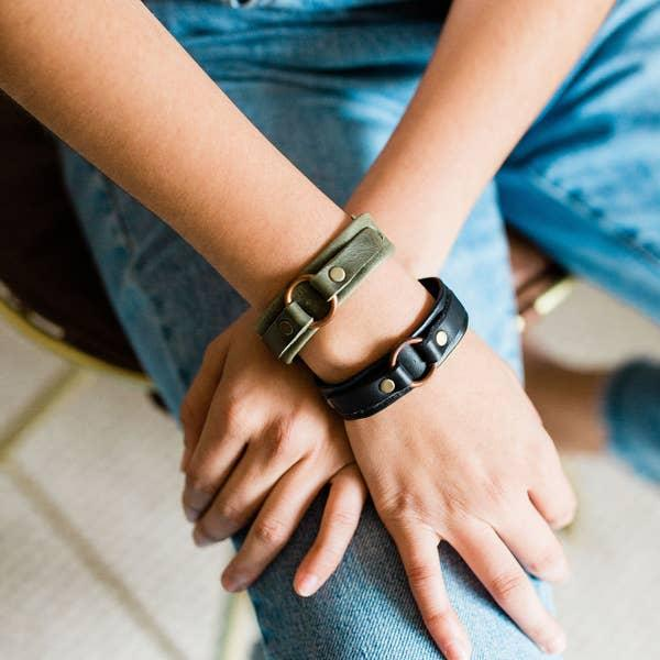 Black Fair Trade Leather Bracelet