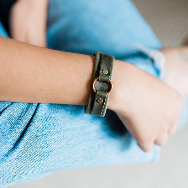 Green Fair Trade Leather Bracelet