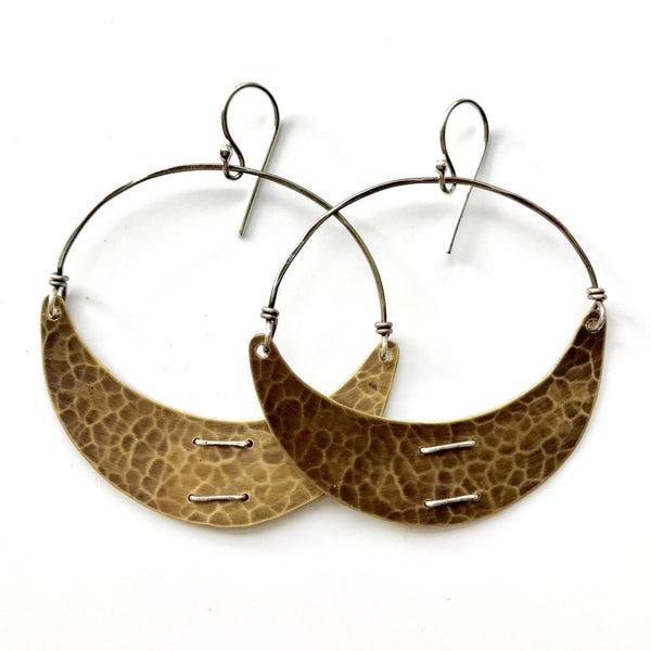 Large Brass Crescent Earring