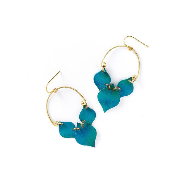 Teal Leaves Earrings