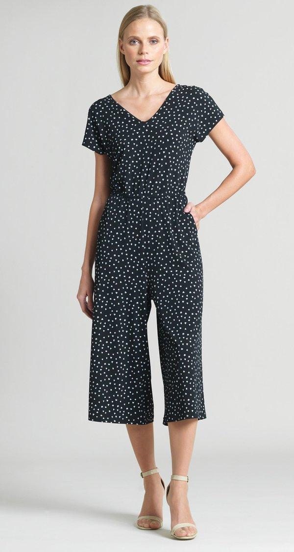 Black Print Easy Jumpsuit