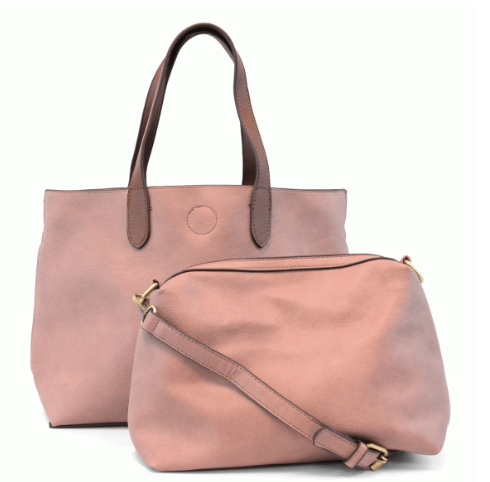 Mauve/Coffee Medium Convertible Tote