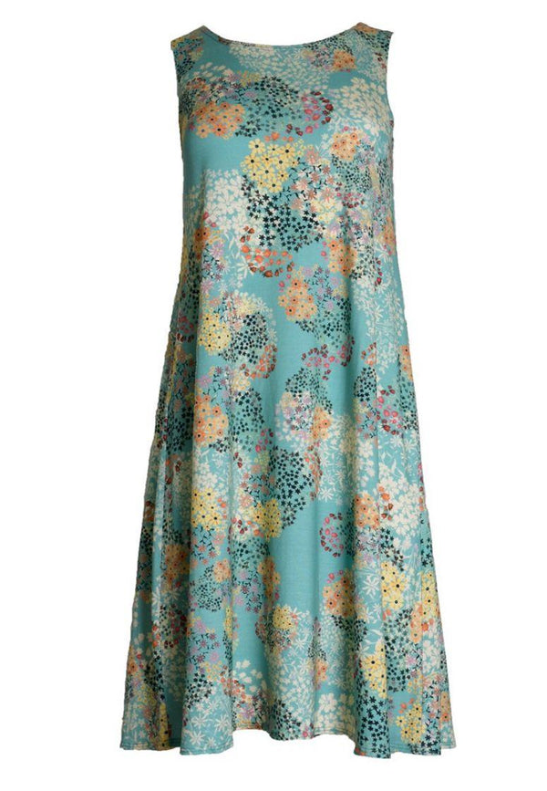 Aqua Ditsy Flower Swing Dress