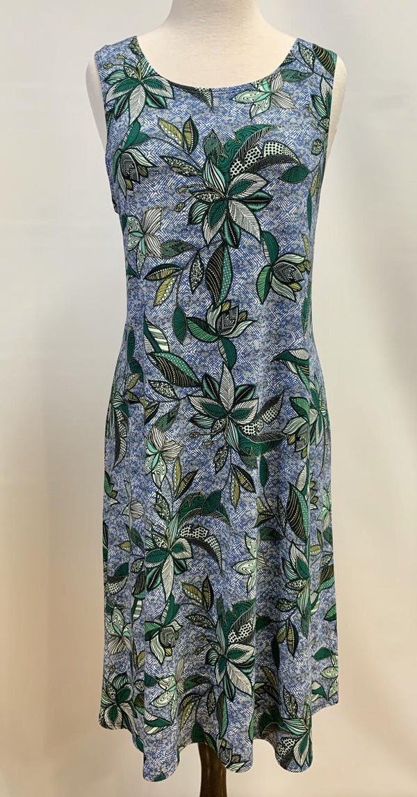 Blue Green Palm Swing Dress