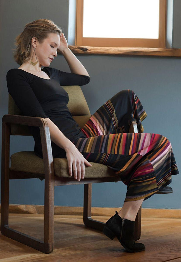 Fall Stripe Gaucho Pant