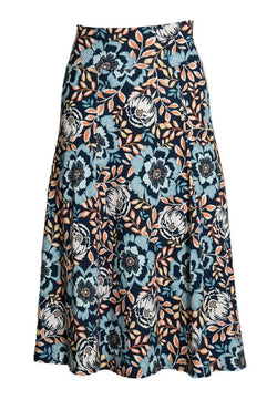 Navy Pop Floral Calf Skirt