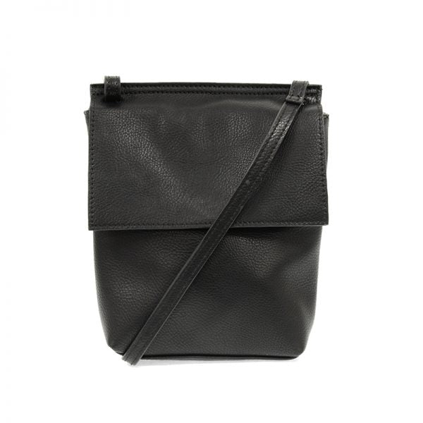 Black Front Flap Crossbody Bag