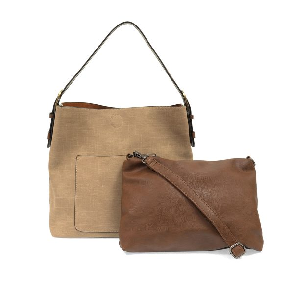 Taupe Textured Linen Hobo Handbag
