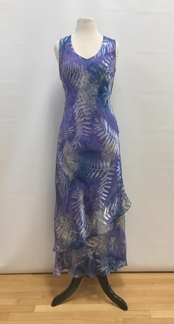 Lavender Fern Silk Burnout Ankle Dress