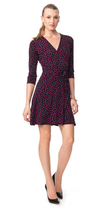 Dot Wrap Mini Dress