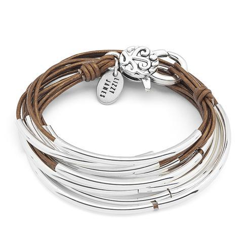 Silver & Bronze Leather Bracelet