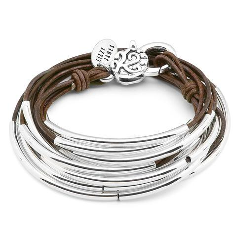 Silver & Nat Brown Leather Bracelet