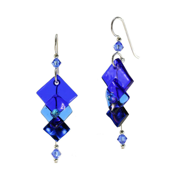 Cobalt Layers Dichroic Glass Earring