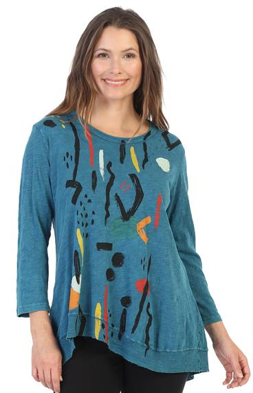 Rib Trim Artsy Cotton Tunic