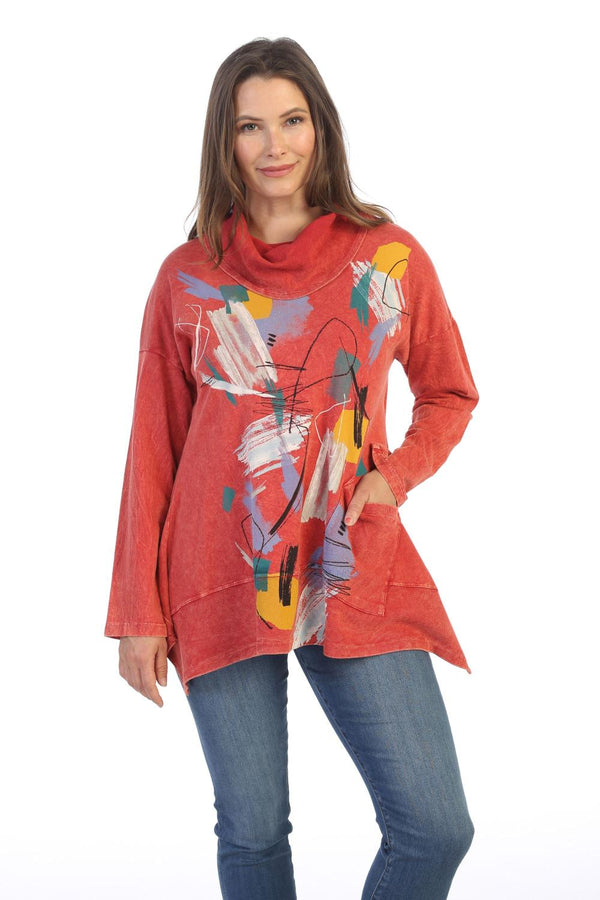 Red Art Waffle Cowl Tunic