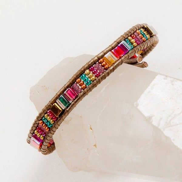 Moroccan Miyuke & Leather Bracelet