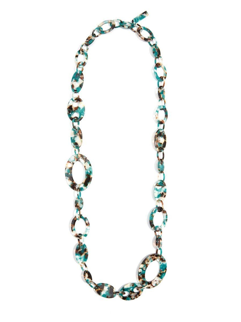 Teal Tortoise Lucite Necklace