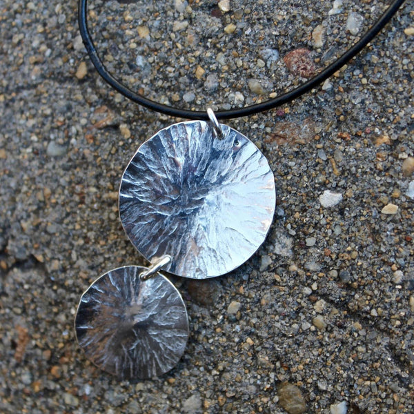 Sterling Hammered Circles Necklace