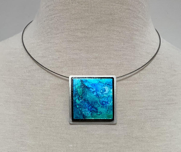 Turq Water Square Necklace