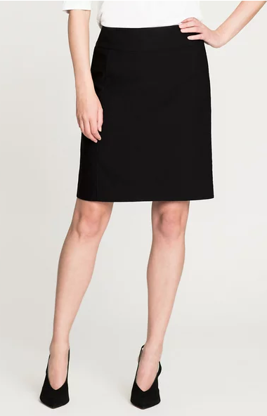 Black Stretch Basic Skirt
