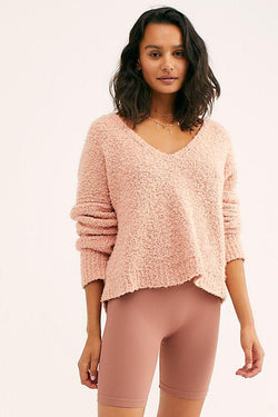 Peach Cozy V Neck