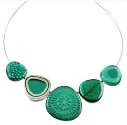 Aqua Teal Resin Eclectic Necklace