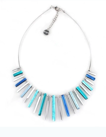Teals & Silver Stick Necklace