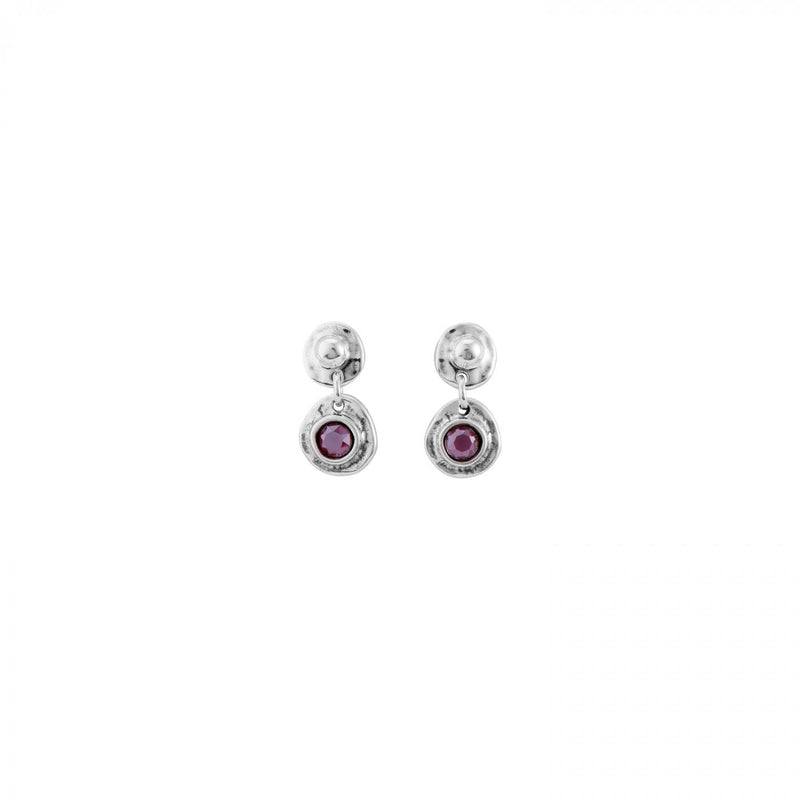 Silver Disc Studs With Pink Crystals